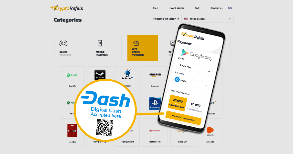 Dash announces its partnership with CryptoRefills